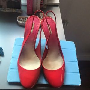 Miu Miu red patent leather sling backs